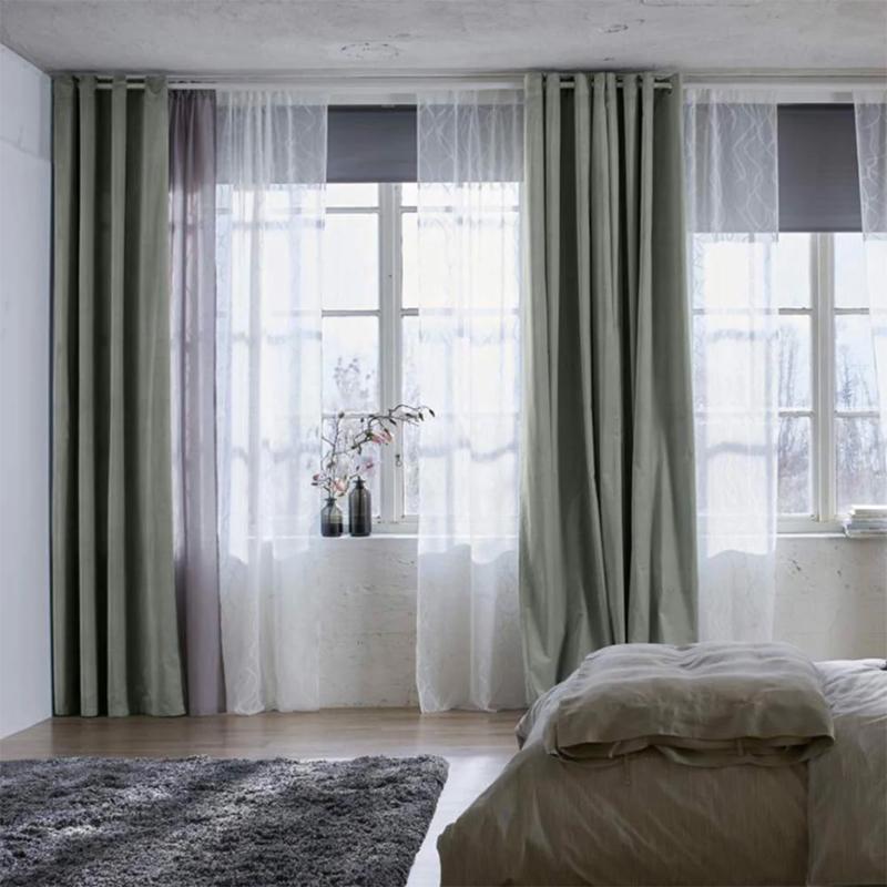 May rèm cửa sổ vải gấm lụa màu xanh bơ