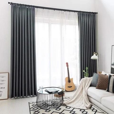 Mua rèm cửa sổ vải Solid màu xám