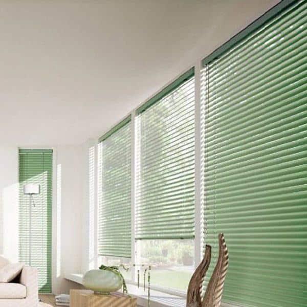 Rèm nhôm phòng khách màu xanh lá cây