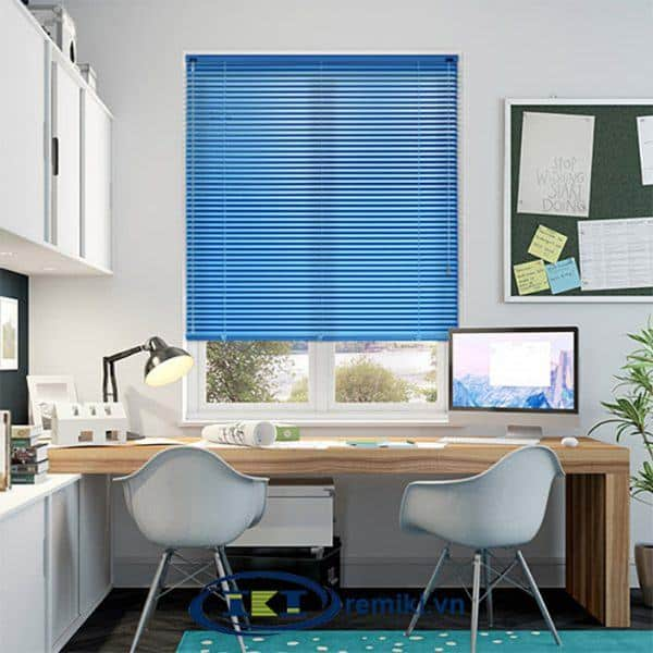 Rèm nhôm phòng làm việc màu xanh biển
