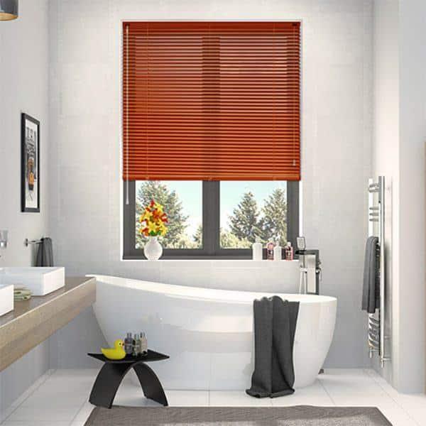 Rèm nhôm phòng tắm màu nâu đỏ