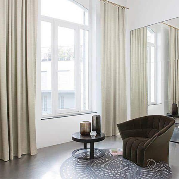 Rèm phòng khách hai lớp vải màu trắng ngả vàng