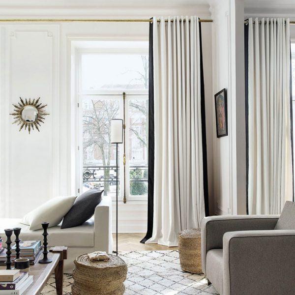 Rèm phòng khách hai lớp vải màu trắng