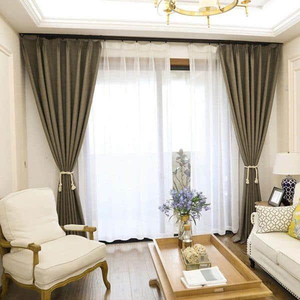 Rèm phòng khách hai lớp vải màu vàng nâu