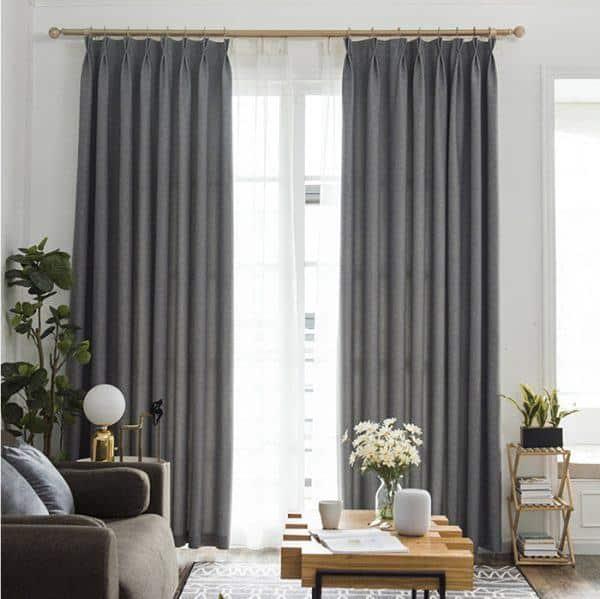 Rèm phòng khách hai lớp vải màu xám