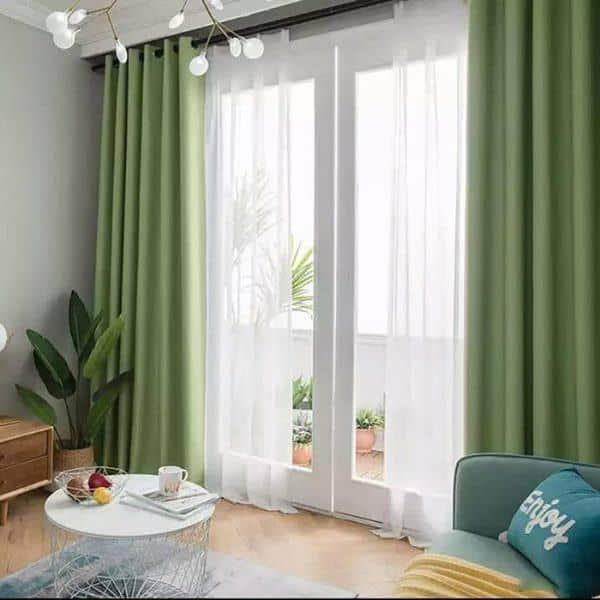 Rèm phòng khách hai lớp vải màu xanh lá