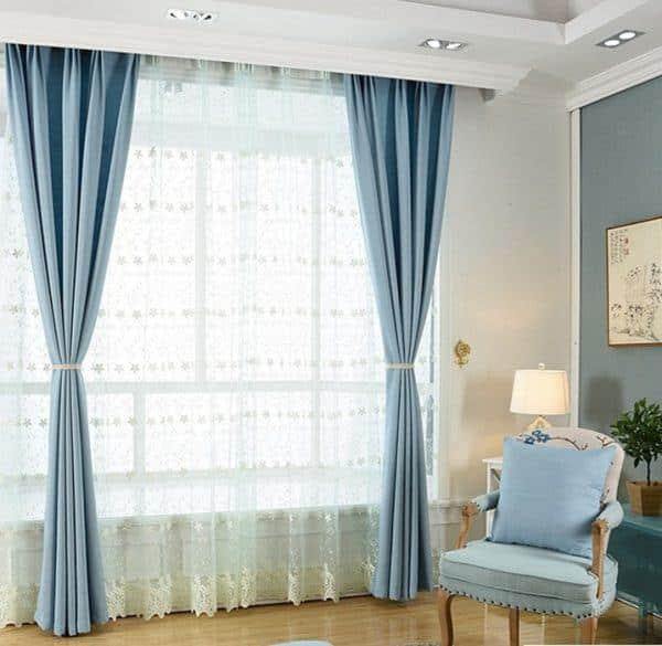 Rèm phòng khách hai lớp vải màu xanh nước biển