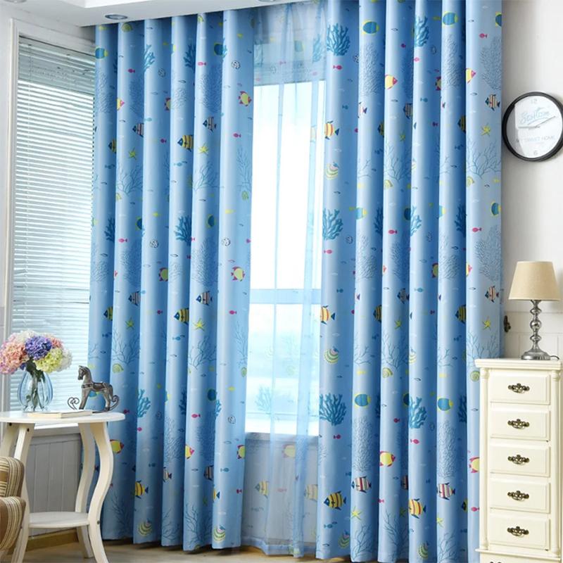 Rèm treo cửa sổ vải gấm lụa màu xanh