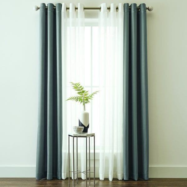 Rèm vải hai lớp màu xanh lá tối màu