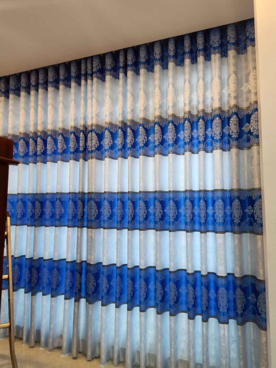 Rèm Vải Hoa Văn Phòng Khách-2