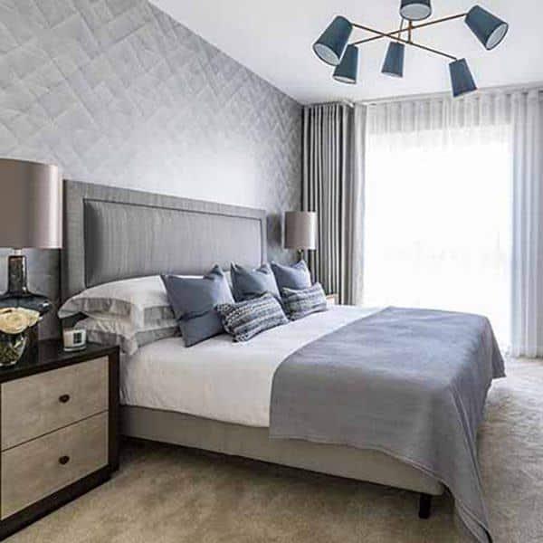 Rèm vải phòng ngủ hai lớp màu ghi