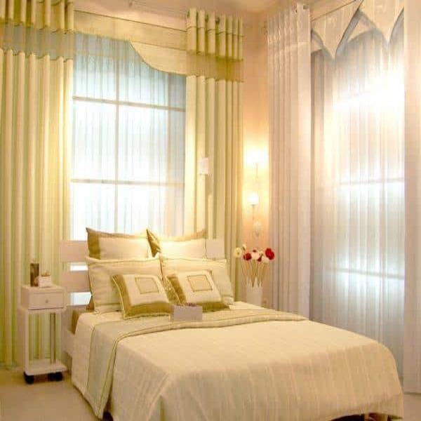 Rèm vải phòng ngủ hai lớp màu vàng xanh