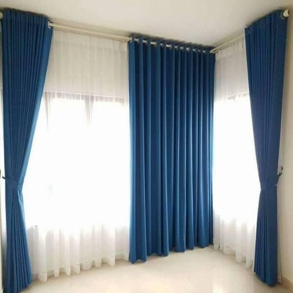Rèm vải phòng ngủ hai lớp màu xanh biển