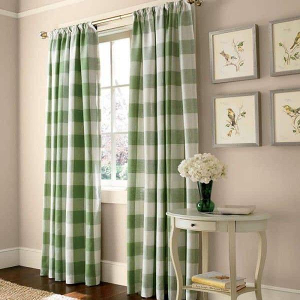 Rèm vải phòng ngủ hai lớp màu xanh caro
