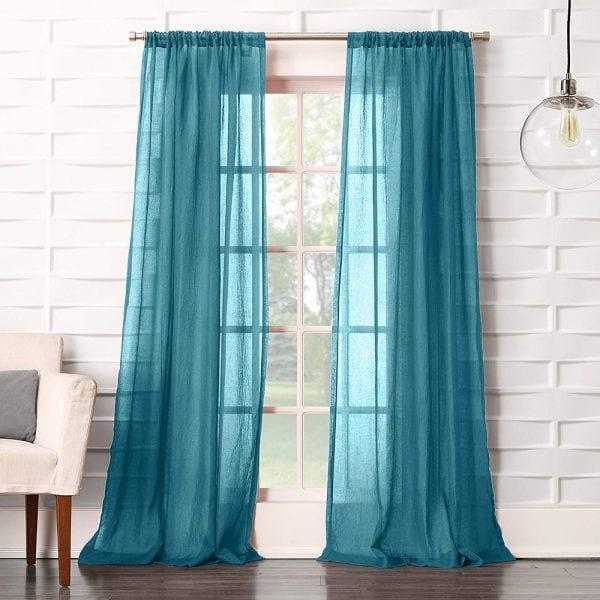 Rèm vải trong, màu xanh biển